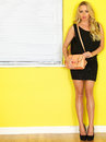 Young business woman holding a pink handbag wearing a short black dress dslr royalty free image of attractive blonde haired Royalty Free Stock Photography
