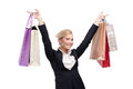 Young business woman holding shopping bags Stock Images