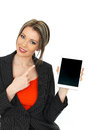 Young business woman holding a tablet dslr royalty free image of an attractive with dark blonde hair an electronic looking happy Royalty Free Stock Images
