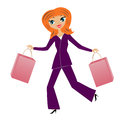 Young business woman hurry with purchase home illustration Royalty Free Stock Photography