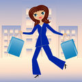 Young business woman hurry with purchase home illustration Stock Photos