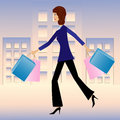 Young business woman hurry with purchase home illustration Royalty Free Stock Photos