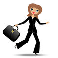 Young business woman hurry on work illustration Stock Photos