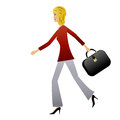 Young business woman hurry on work illustration Stock Photography