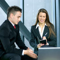 A young business woman interviews a man Royalty Free Stock Photos