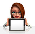 Young business woman with ipad d rendered illustration of Royalty Free Stock Images