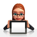 Young business woman with ipad d rendered illustration of Royalty Free Stock Photography