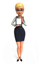 Young business woman with ipad d rendered illustration of Stock Images