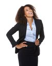 Young business woman laughing portrait of a on isolated white background Stock Photography