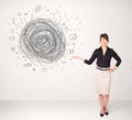 Young business woman with media doodle scribble concept Royalty Free Stock Photo