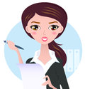 Young business woman with pen office writing paper note vector illustration Royalty Free Stock Image