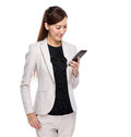 Young business woman reading mobile phone Royalty Free Stock Photo