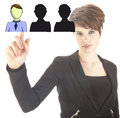 Young business woman selecting virtual friends