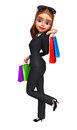 Young business woman with shopping bag d rendered illustration of Stock Photo