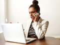 Young business woman shouting on the phone Royalty Free Stock Photo