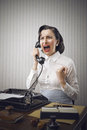 Young business woman shouting telephone Stock Photography