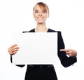 Young business woman showing blank signboard finance and people concept happy smiling over white background Royalty Free Stock Photography