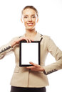 Young business woman showing tablet isolated Stock Images