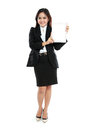 Young business woman showing tablet screen isolated over white background Royalty Free Stock Photography