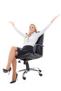 Young business woman sitting in office chair and celebrating suc success isolated on white background Royalty Free Stock Photo