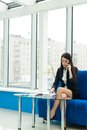 Young business woman speaking on mobile Stock Images