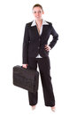 Young business woman with suitcase Stock Images