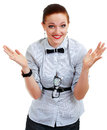 Young business woman or teacher shrug Stock Photos