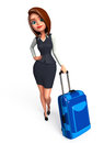 Young business woman with traveling bag d rendered illustration of Royalty Free Stock Photo