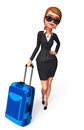 Young business woman with traveling bag d rendered illustration of Stock Images