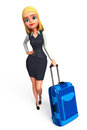 Young business woman with traveling bag d rendered illustration of Stock Photos