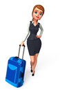 Young business woman with traveling bag d rendered illustration of Royalty Free Stock Image