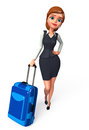 Young business woman with traveling bag d rendered illustration of Stock Photography