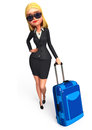 Young business woman with traveling bag d rendered illustration of Royalty Free Stock Photos