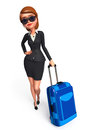 Young business woman with traveling bag d rendered illustration of Stock Photo