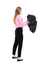 Young business woman with umbrella rear view people collection backside view of person isolated over white background office Stock Image