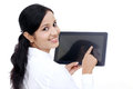 Young business woman using digital tablet computer Royalty Free Stock Photo