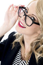 Young business woman wearing glasses attractive happy Royalty Free Stock Photo