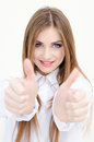 Young business woman wearing man s shirt showing thumbs up portrait of on white background Royalty Free Stock Image