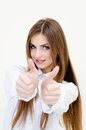 Young business woman wearing man s shirt showing thumbs up portrait of on white background Stock Photo