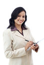 Young business woman working with tablet indian against white Royalty Free Stock Photo