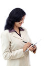 Young business woman working with tablet indian against white Stock Photo