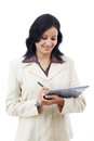 Young business woman working with tablet indian against white background Stock Photo
