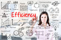 Young business woman writing concept of efficiency business process. Office background. Royalty Free Stock Photo