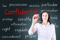 Young business woman writing confidential concept Royalty Free Stock Photo