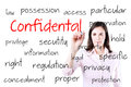 Young business woman writing confidential concept. Royalty Free Stock Photo