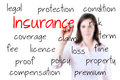 Young business woman writing insurance concept white background Stock Image