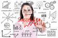 Young business woman writing success by many process, isolated. Royalty Free Stock Photo