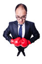 Young businessman boxer isolated on white Royalty Free Stock Photos