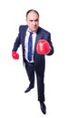 Young businessman boxer isolated on white Stock Images