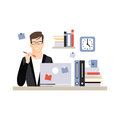 Young businessman character sitting at the desk with laptop and working, daily life of office employee vector